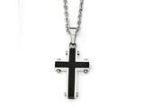 Chisel Stainless Steel Polished Black Ip-plated Cross Necklace style: SRN182622