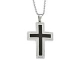 Chisel Stainless Steel Polished Carbon Fiber Cross Necklace style: SRN182822