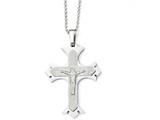 Chisel Stainless Steel Polished Laser Cut Crucifix Necklace style: SRN183922