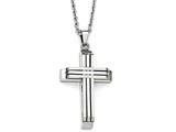 Chisel Stainless Steel Brushed And Polished Cross Necklace style: SRN184122