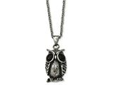 Chisel Stainless Steel Antiqued And Polished Black Glass Owl Necklace style: SRN184422