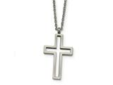 Chisel Stainless Steel Brushed And Polished Cut-out Cross Necklace style: SRN1846175