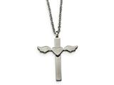 Chisel Stainless Steel Polished Cross With Heart Necklace style: SRN18471825