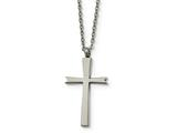 Chisel Stainless Steel Brushed And Polished Cross Necklace style: SRN185418