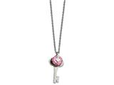 Chisel Stainless Steel Polished With Pink Cz Key Necklace style: SRN186018