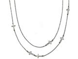 Chisel Stainless Steel Two Strand Cross Necklace style: SRN187530