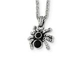 Chisel Stainless Steel Antiqued and Polished W/crystal Spider Necklace style: SRN189718
