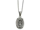 Chisel Stainless Steel Antiqued Polished Spanish Miraculous Medal Necklace style: SRN190018