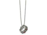 Chisel Stainless Steel Antiqued And Polished W/ Crystals Crown Necklace style: SRN190618
