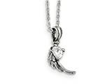 Chisel Stainless Steel Antiqued And Polished W/crystal Wing Necklace style: SRN191118