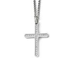 Chisel Stainless Steel Cz Cross Necklace style: SRN192324