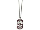 Chisel Stainless Steel Brown Ip-plated Skull Dog Tag 24in Necklace style: SRN192524