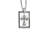 Chisel Stainless Steel Antiqued Cross Dog Tag Necklace style: SRN192624