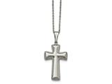 Chisel Stainless Steel Polished Medium Pillow Cross Necklace style: SRN193018