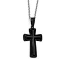 Chisel Stainless Steel Polished Black Ip-plated Medium Pillow Cross Necklace style: SRN193118