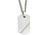 Chisel Stainless Steel Small Brushed Cz Dog Tag Necklace style: SRN194024