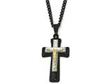 Chisel Stainlesssteel Black and Yellow Ip-plated W/ Silver Ip Brass Crucifix Necklace style: SRN194124