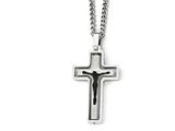 Chisel Stainless Steel Polished/laser Cut W/black Ip-plated Jesus Necklace style: SRN194424