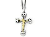 Chisel Stainless Steel Gold Ip W/ Brushed and Polished Cable Cross Necklace style: SRN194524