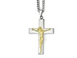 Chisel Stainless Steel Polished Cross W/yellow Ip Jesus Necklace style: SRN194624