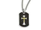 Chisel Stainless Steel Carbon Fiber Gold Ip-plated D/c Cross Necklace style: SRN194724