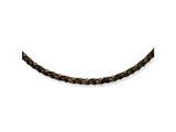 Chisel 4mm Genuine Leather Hexagon Weave Necklace - 18 inches