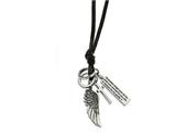 Chisel Stainless Steel Leather Cord Angel Wing Charms Slip-on Necklace style: SRN195829