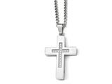 Chisel Stainless Steel Polished Cz Cross Necklace style: SRN196124