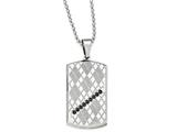 Chisel Stainless Steel Polished and Textured Black Cz Dog Tag Necklace style: SRN197022
