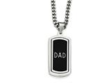 Chisel Stainless Steel Polished W/ Enamel And Cz Reversible Dad Necklace style: SRN197122
