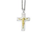 Chisel Stainless Steel Brushed, Polished Yellow Ip-plated Crucifix Necklace style: SRN197320