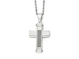 Chisel Stainless Steel Brushed And Polished W/ Black Cz Cross Necklace style: SRN198024