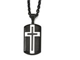 Chisel Stainless Steel Brushed And Polished Black Ip-plated Cross Necklace style: SRN198824