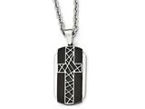 Chisel Stainless Steel Brushed And Polished Black Ip-plated Cross Necklace style: SRN199124