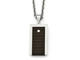 Chisel Stainless Steel Reversible Brushed and Polished With Brown Leather Necklace style: SRN199224