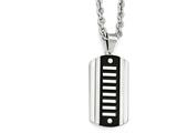 Chisel Stainless Steel Brushed and Polished Black Ip-plated Dog Tag Necklace style: SRN199524