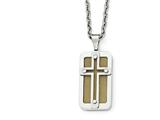 Chisel Stainless Steel Polished Yellow Ip-plated Wire Inlay Cross Necklace style: SRN199624
