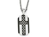 Chisel Stainless Steel Brushed And Polished Black Ip-plated Cross Necklace style: SRN199824