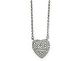 Chisel Stainless Steel Polished W/ Preciosa Crystal Heart W/2 Inch Ext Necklace style: SRN200716