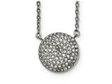 Chisel Stainless Steel Polished W/ Preciosa Crystal Circle W/2 Inch Ext Necklace style: SRN200816