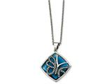 Chisel Stainless Steel Blue Glass And Preciosa Crystal Butterfly Necklace style: SRN201018