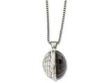 Chisel Stainless Steel Polished Grey and Clear Glass Round Pendant Necklace style: SRN201724