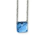 Chisel Stainless Steel Polished Blue Glass Square W/2 Inch Ext Necklace style: SRN201916