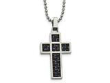 Chisel Stainless Steel Polished Black/blue Carbon Fiber Cross Necklace style: SRN202420