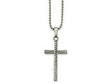 Chisel Stainless Steel Polished And Textured Cross Necklace style: SRN202520
