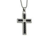 Chisel Stainless Steel Brushed/polished Blk/blue Carbon Fiber CZ Cross Necklace style: SRN202922