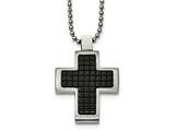 Chisel Stainless Steel Brushed and Polished Black Ip Textured Cross Necklace style: SRN203222