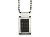 Chisel Stainless Steel Brushed And Polished Black Ip Textured Necklace style: SRN203322