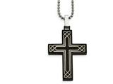 Chisel Stainless Steel Polished Laser Etched Black Ip Cross Necklace style: SRN204024