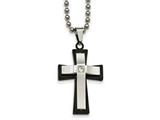 Chisel Stainless Steel Polished Blk Ip Double Cross Cz Necklace style: SRN204222